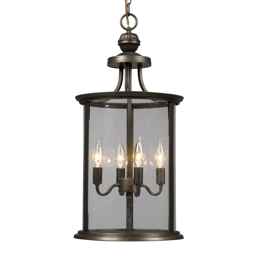 Galaxy Huntington 12-in Oil Rubbed Bronze Wrought Iron Single Clear Glass Lantern Pendant