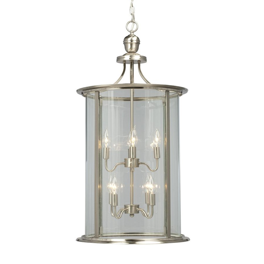 Foyer Light Lowes: Galaxy Huntington Brushed Nickel Transitional Clear Glass