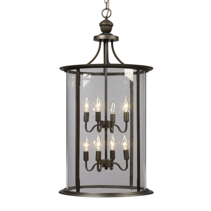 Galaxy Huntington 18-in Oil Rubbed Bronze Wrought Iron Single Clear Glass Lantern Pendant