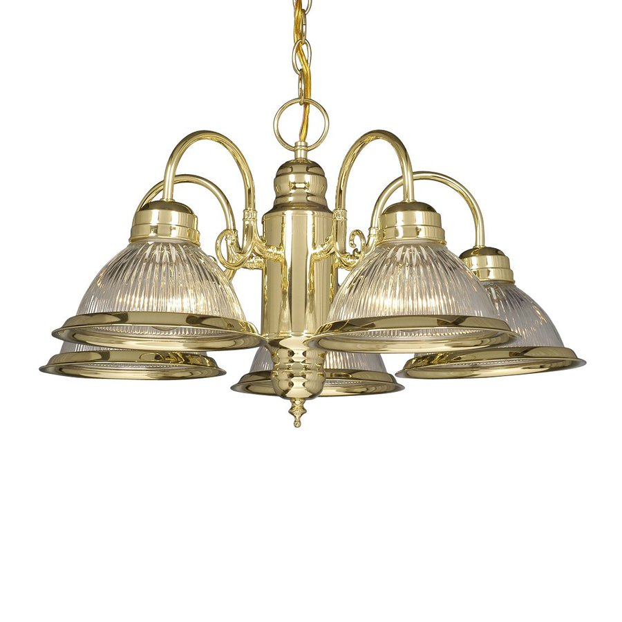 Galaxy Acadia 23.75-in 5-Light Brass Vintage Ribbed Glass Shaded Chandelier