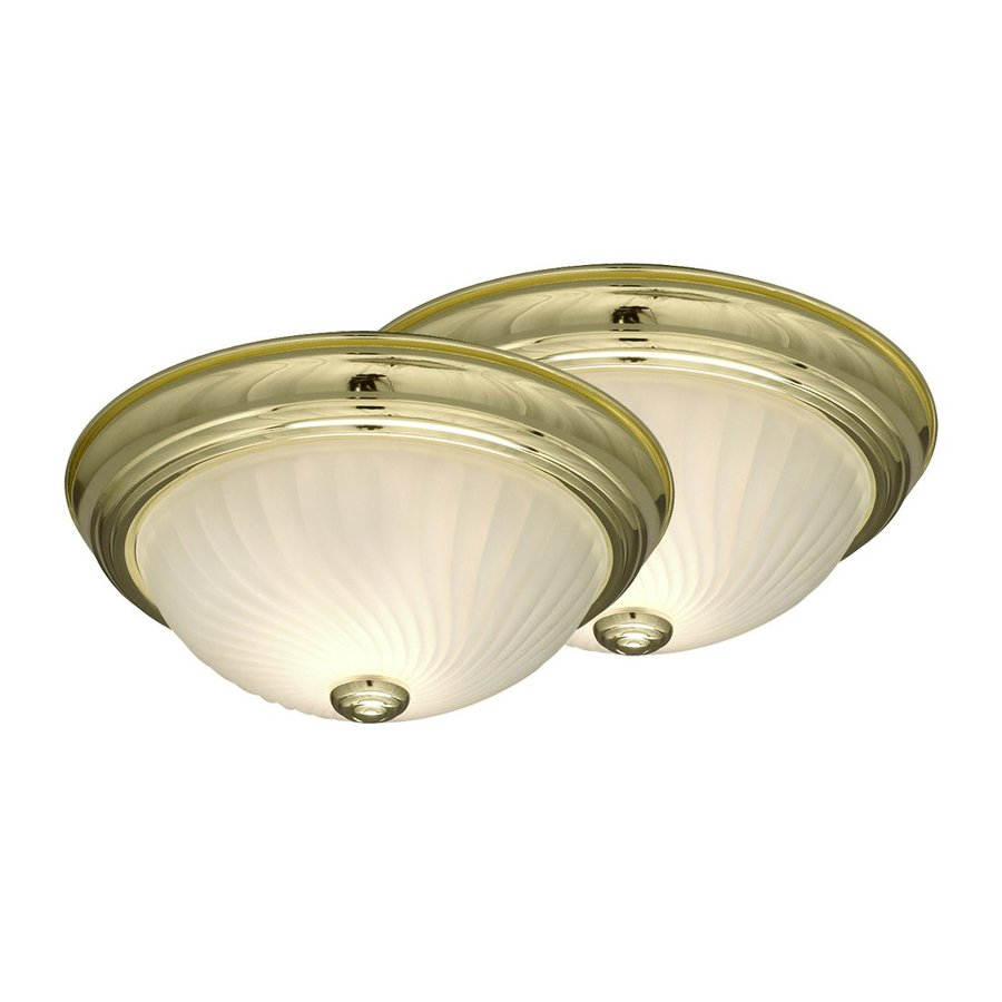 Galaxy 2-Pack 11.125-in W Polished Brass Flush Mount Light