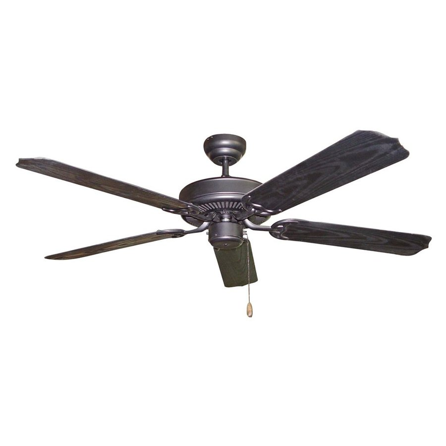 Volume International 52-in Black Downrod Mount Indoor/Outdoor Residential Ceiling Fan (5-Blade)