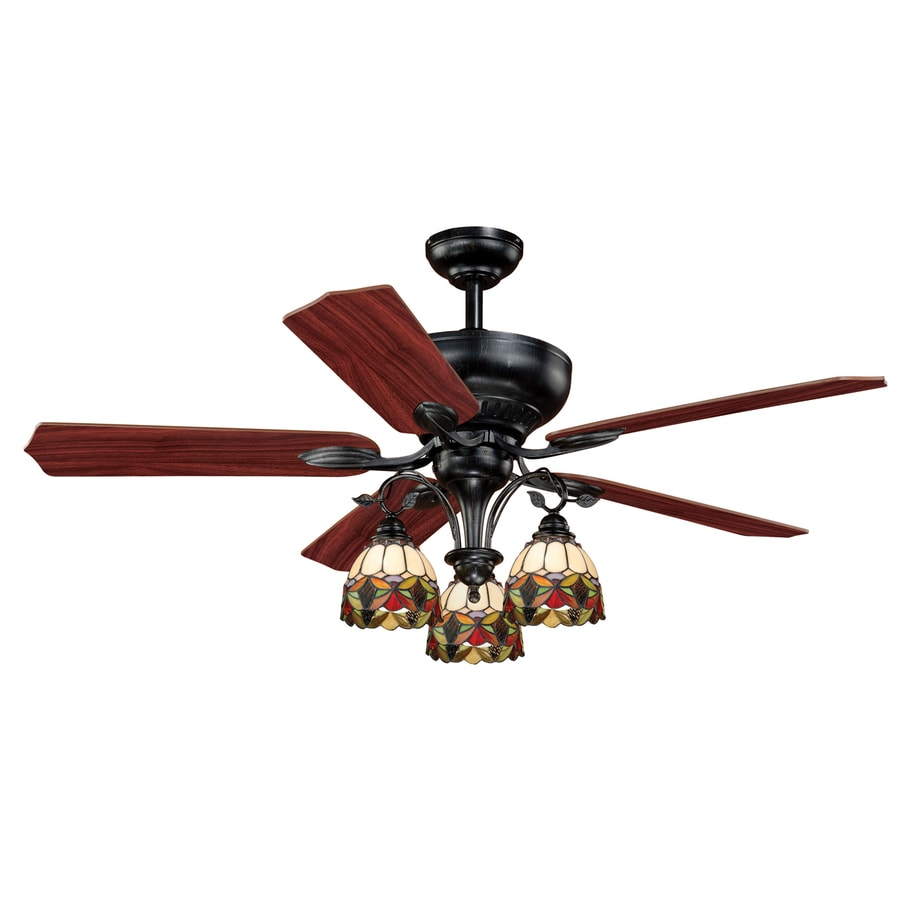 Cascadia Lighting French Country 52-in Oil Shale Downrod Mount Indoor Ceiling Fan with Light Kit (5-Blade)