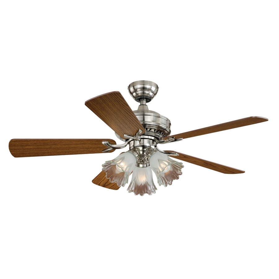 Cascadia Lighting Orchard 44-in Satin Nickel Downrod Mount Indoor Ceiling Fan with Light Kit (5-Blade)