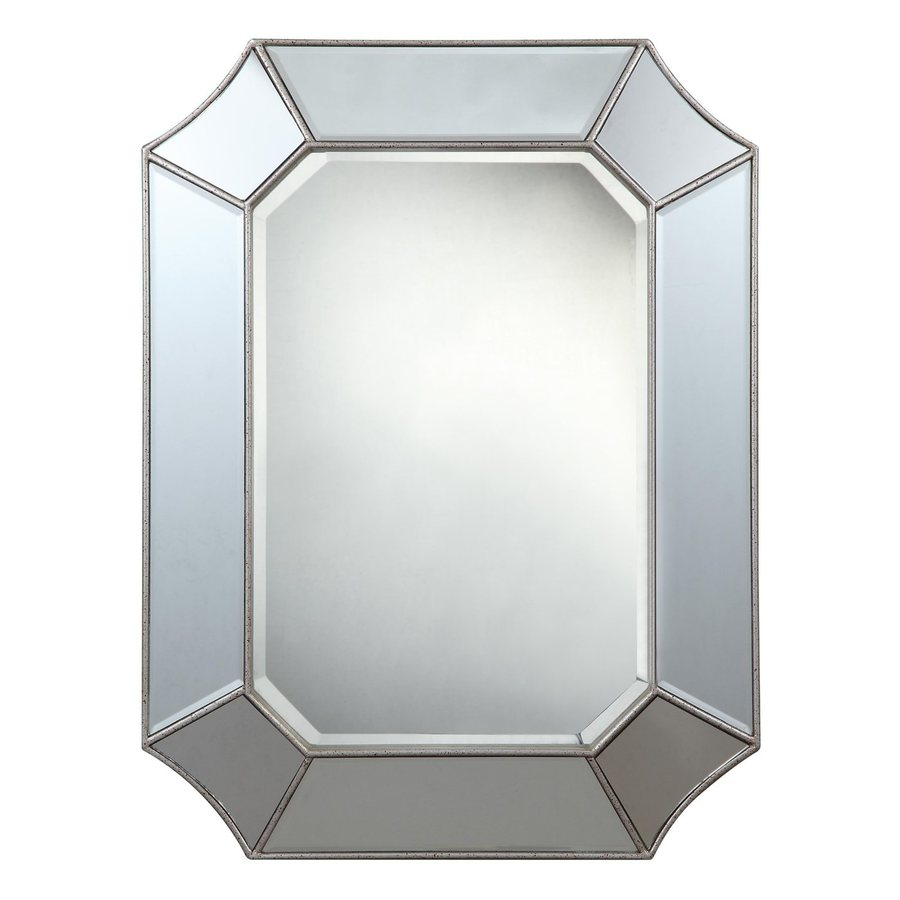 Cooper Classics Nelson 24-in x 32-in Silver Beveled Octagon Frameless Transitional Wall Mirror