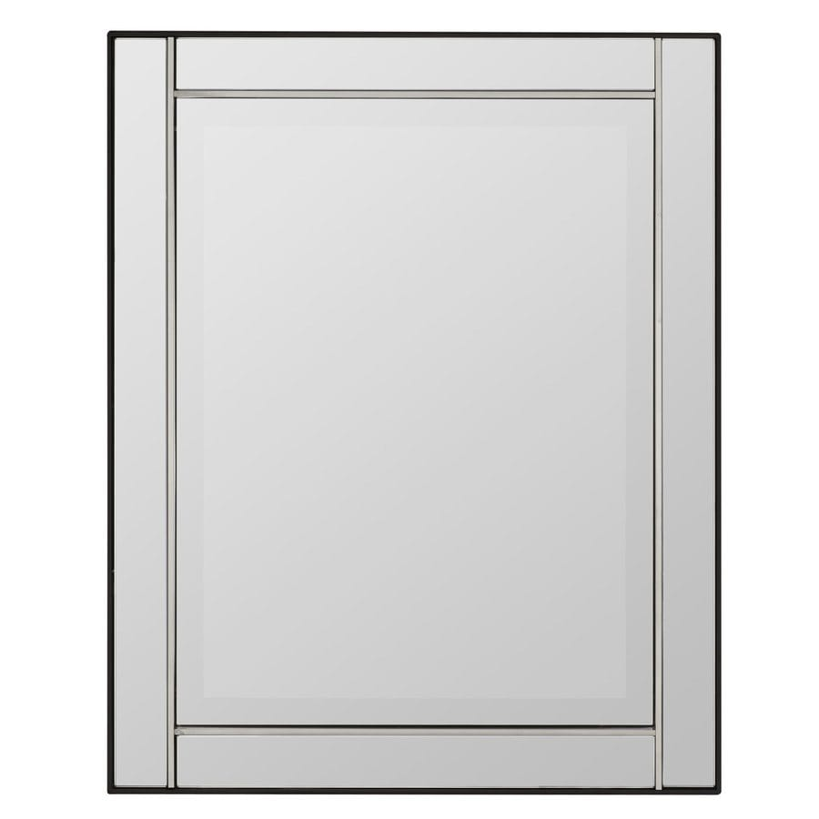 Cooper Classics Jansen 24-in x 30-in Silver Beveled Rectangle Frameless Contemporary Wall Mirror