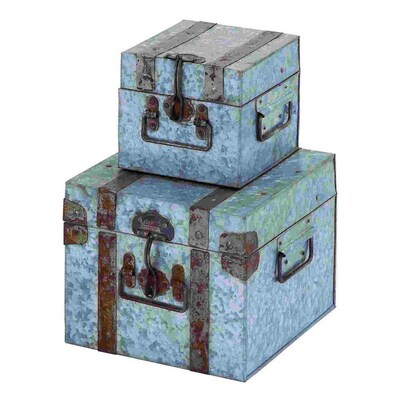 Enjoyable Uma Enterprises Set Of 2 Square Galvanized Metal Boxes At Ibusinesslaw Wood Chair Design Ideas Ibusinesslaworg