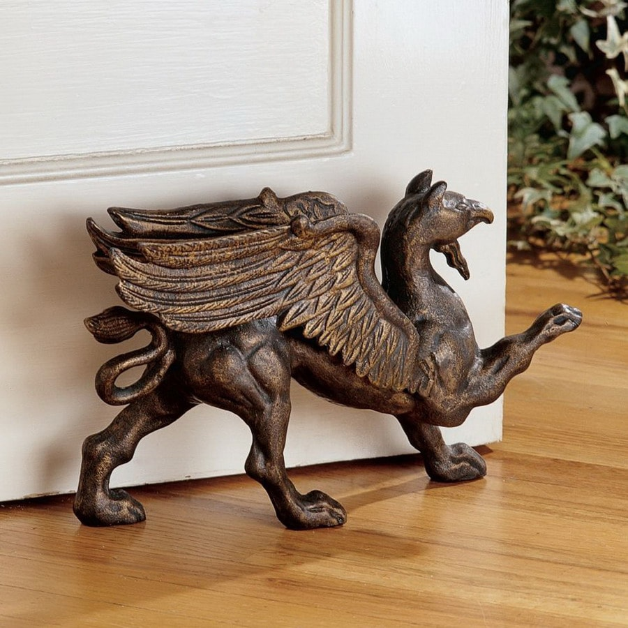Design Toscano Antiqued Iron Rectangular the Growling Griffin Foundry Doorstop