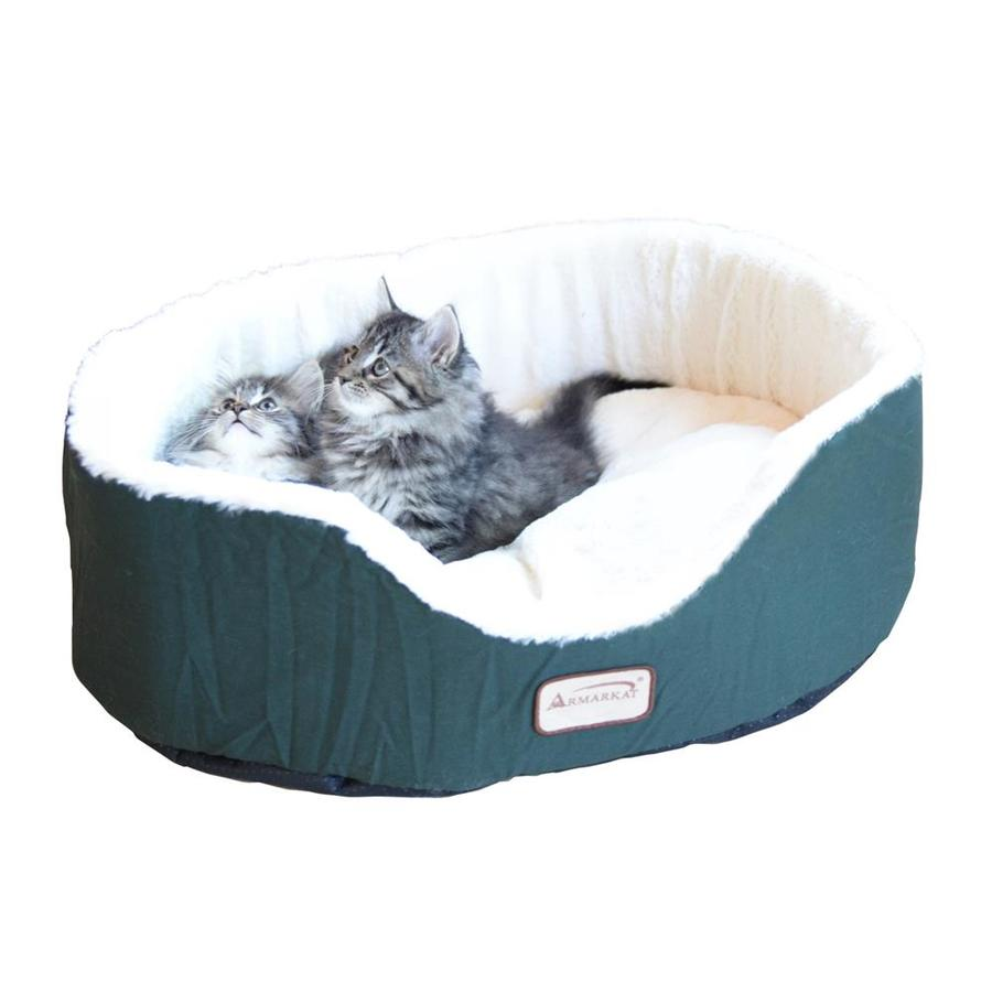 Armarkat Laurel Green/Ivory Canvas and Soft Plush Oval Cat Bed