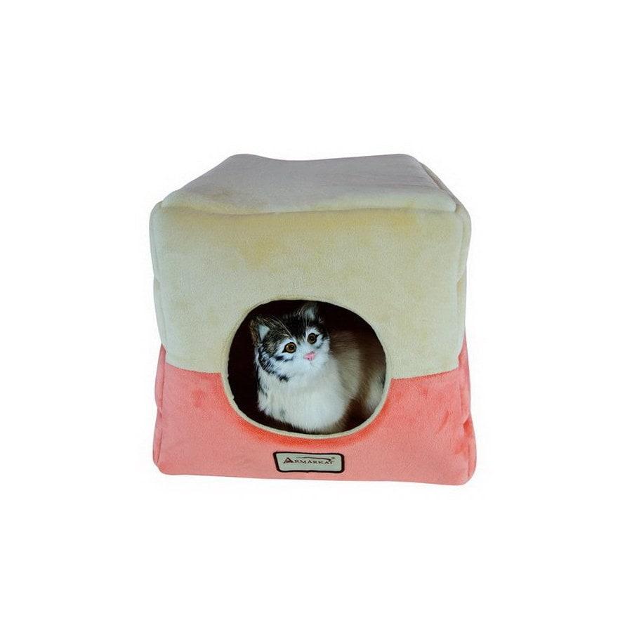 Armarkat Orange/Beige Soft Velvet Square Cat Bed