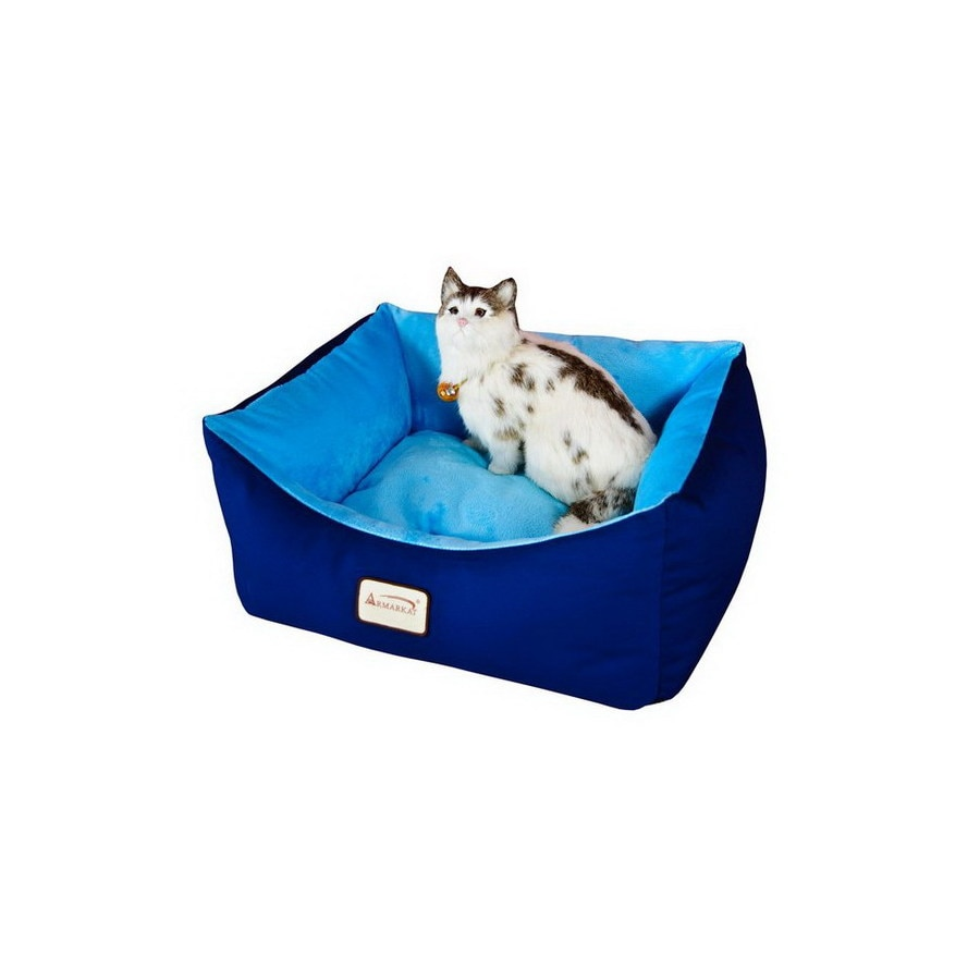 Armarkat Navy Blue/Sky Blue Canvas and Soft Velvet Rectangular Cat Bed