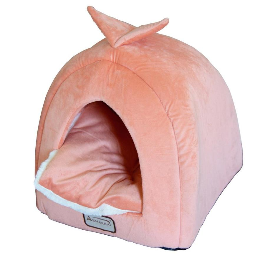 Armarkat Orange/Ivory Soft Plush and Soft Velvet Cat Bed