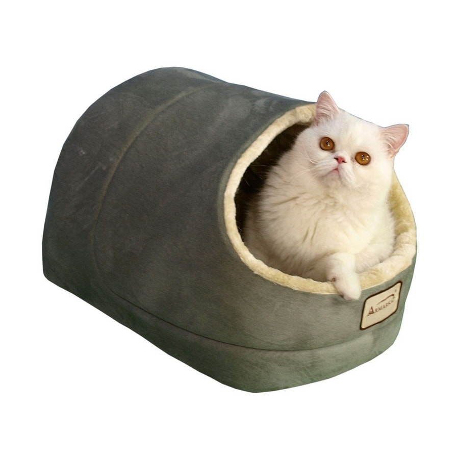 Armarkat Sage Green/Beige Faux Suede and Faux Fur Cat Bed