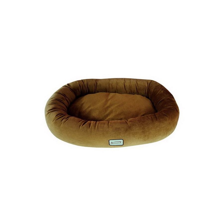 Armarkat Brown Soft Velvet Oval Dog Bed