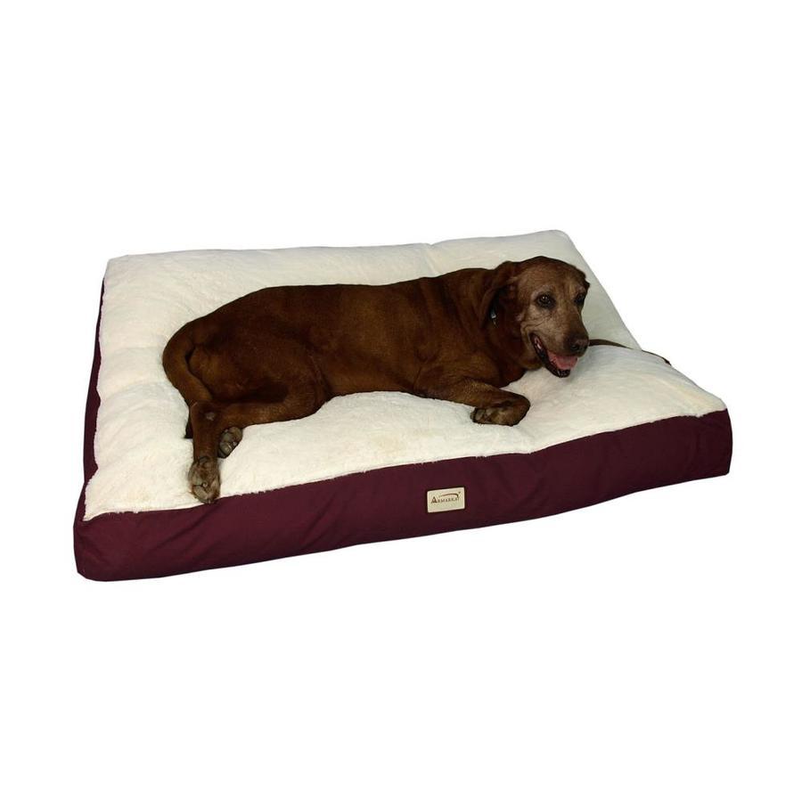 Armarkat Burgundy/Ivory Canvas and Soft Plush Rectangular Dog Bed