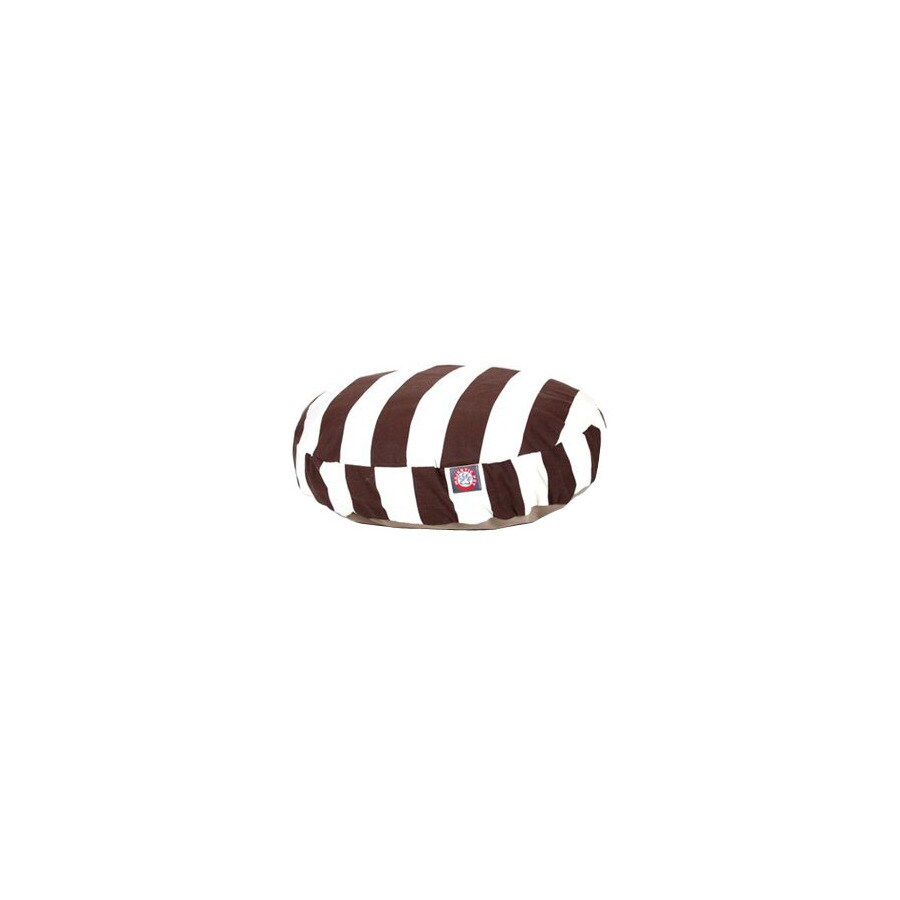 Majestic Pets Chocolate/White Polyester Round Dog Bed