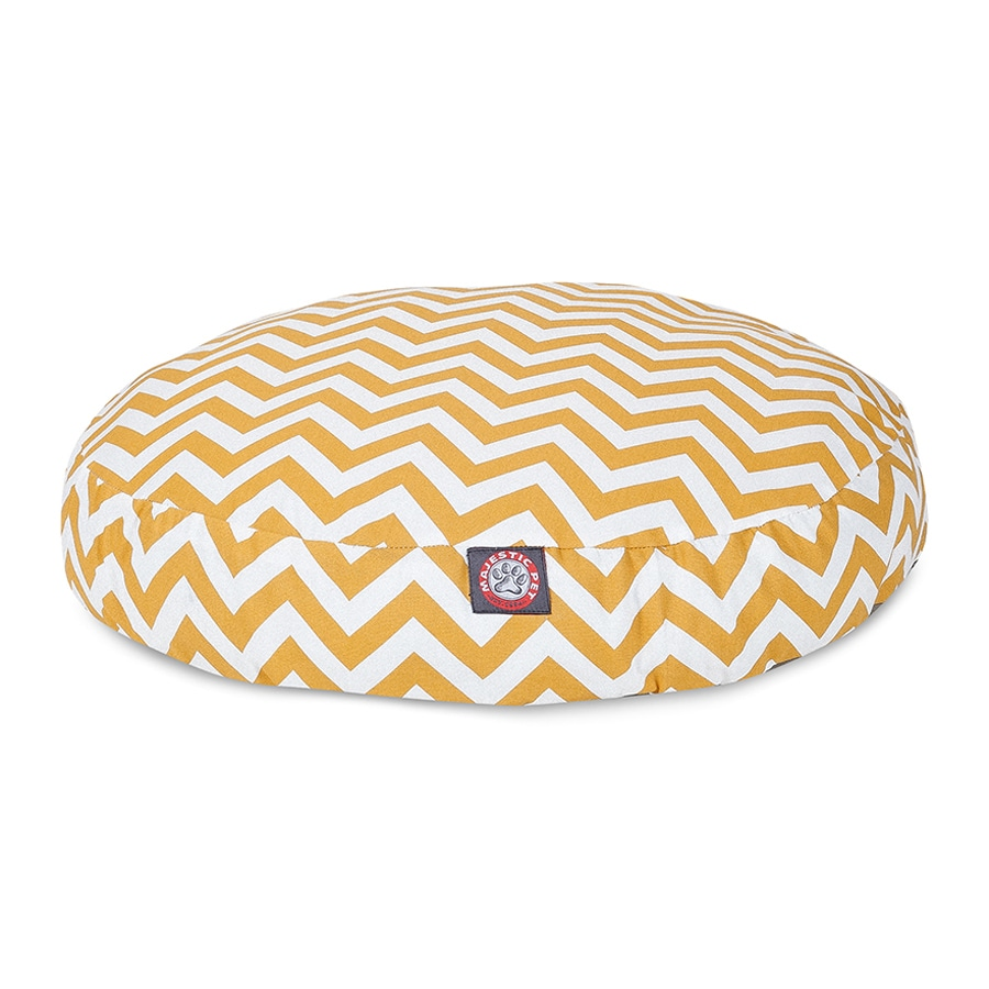 Majestic Pets Yellow Polyester Round Dog Bed