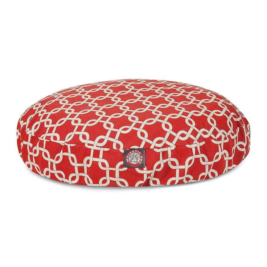 Majestic Pets Red Polyester Round Dog Bed