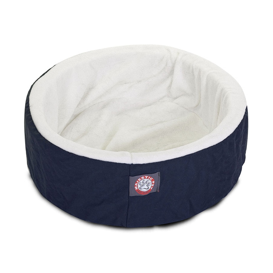 Majestic Pets Blue Sherpa and Poly Cotton Twill Round Cat Bed