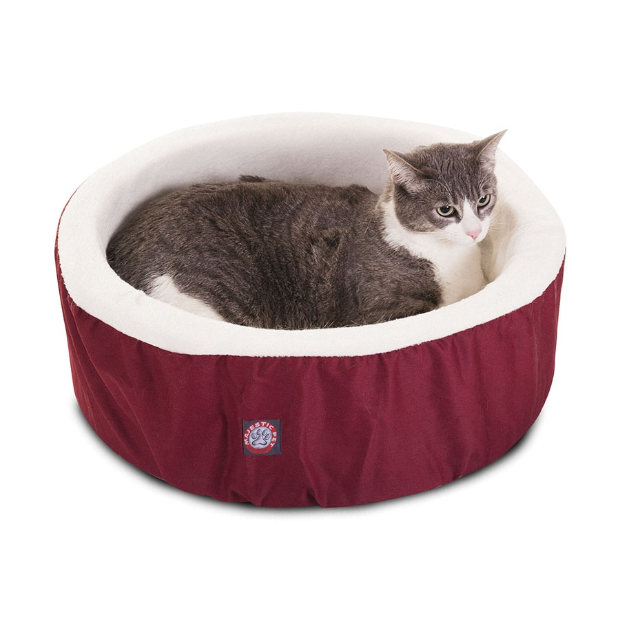Majestic Pets Burgundy Sherpa and Poly Cotton Twill Round Cat Bed