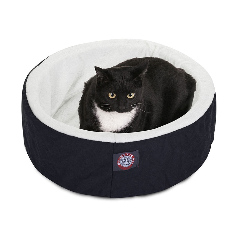 Majestic Pets Black Sherpa and Poly Cotton Twill Round Cat Bed