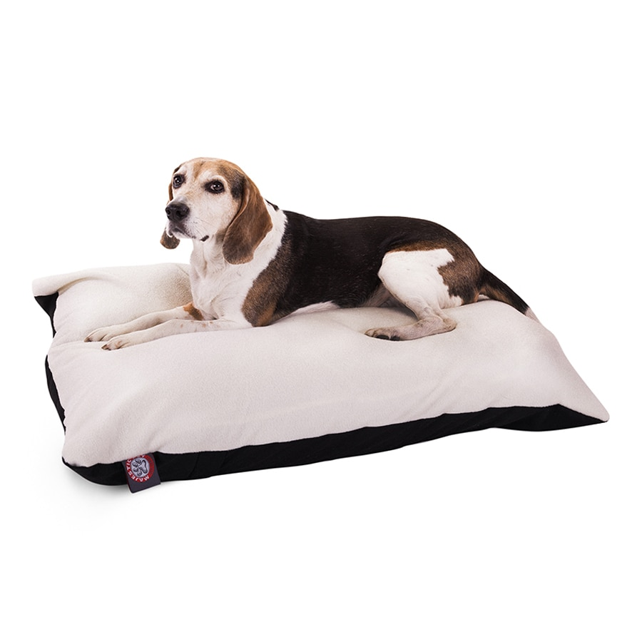 Majestic Pets Black Faux Sheepskin and Poly Cotton Rectangular Dog Bed