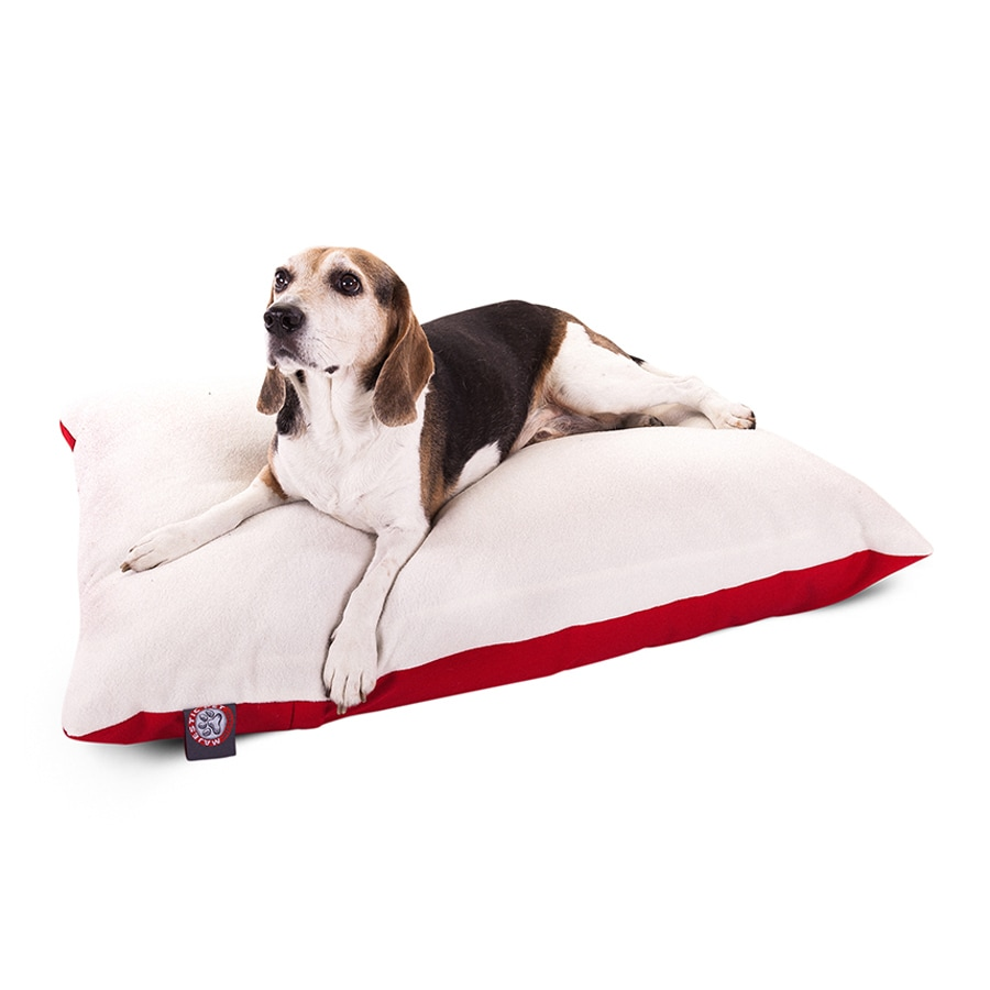 Majestic Pets Red Faux Sheepskin and Poly Cotton Rectangular Dog Bed