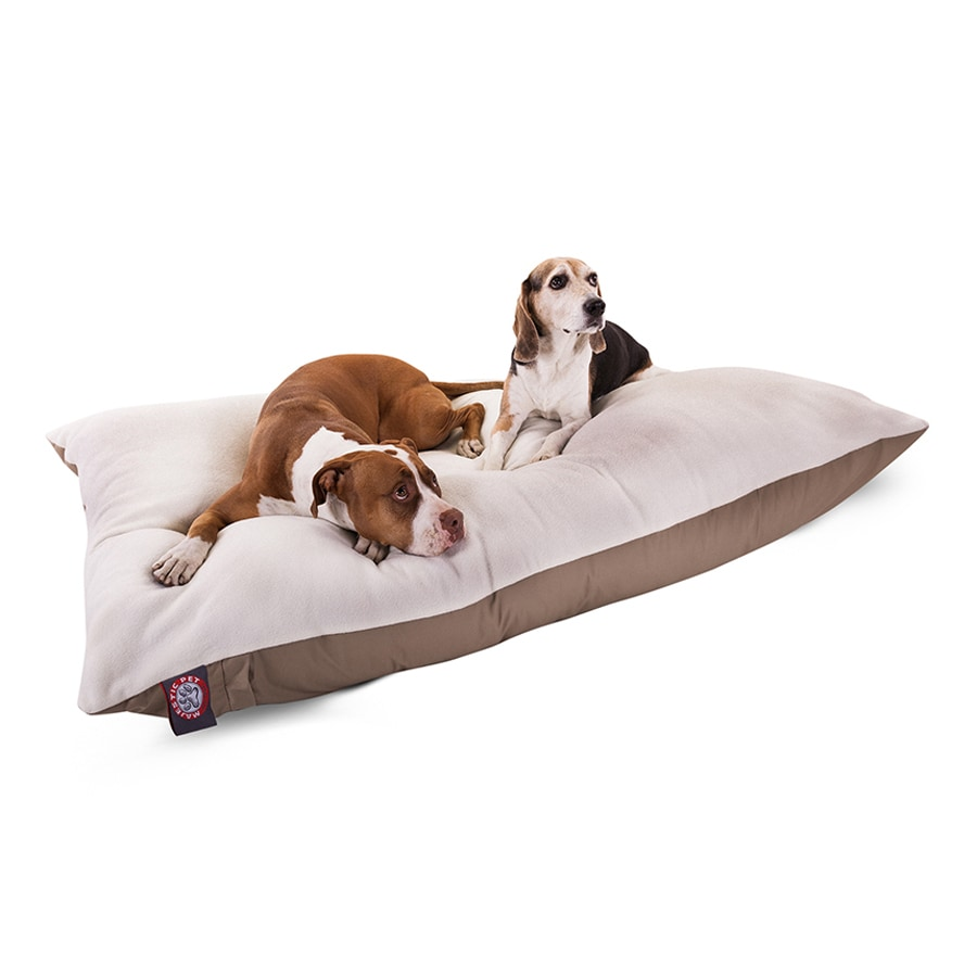 Majestic Pets Khaki Faux Sheepskin and Poly Cotton Rectangular Dog Bed