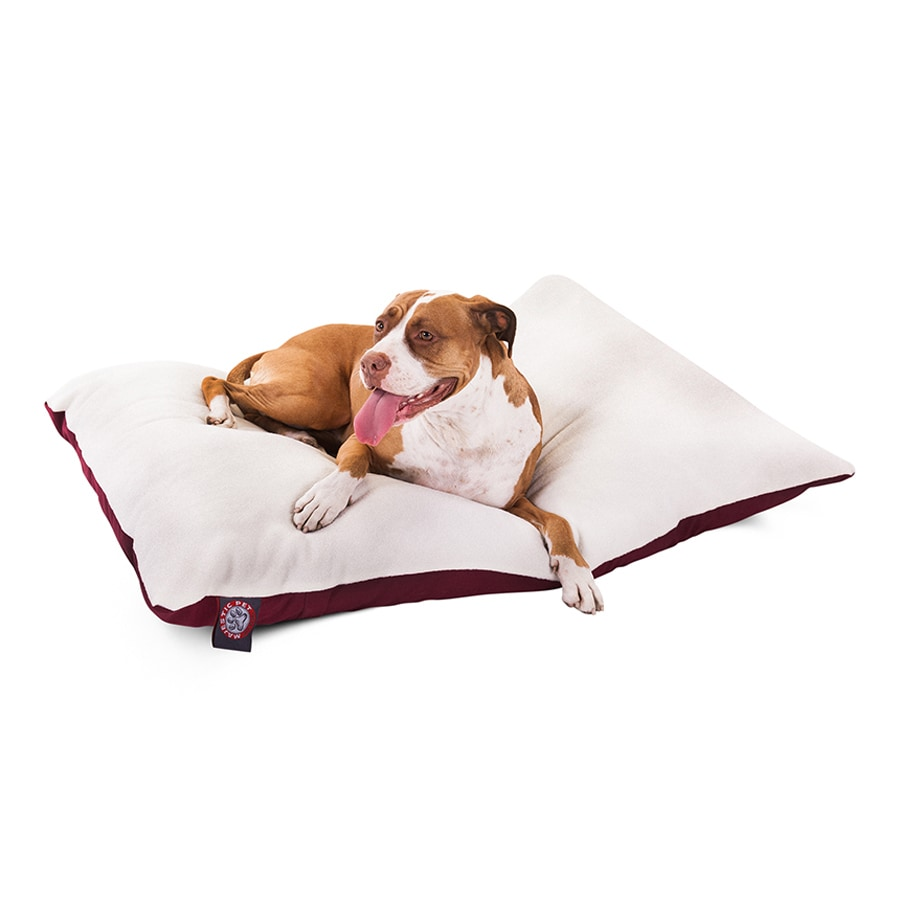 Majestic Pets Burgundy Faux Sheepskin and Poly Cotton Rectangular Dog Bed