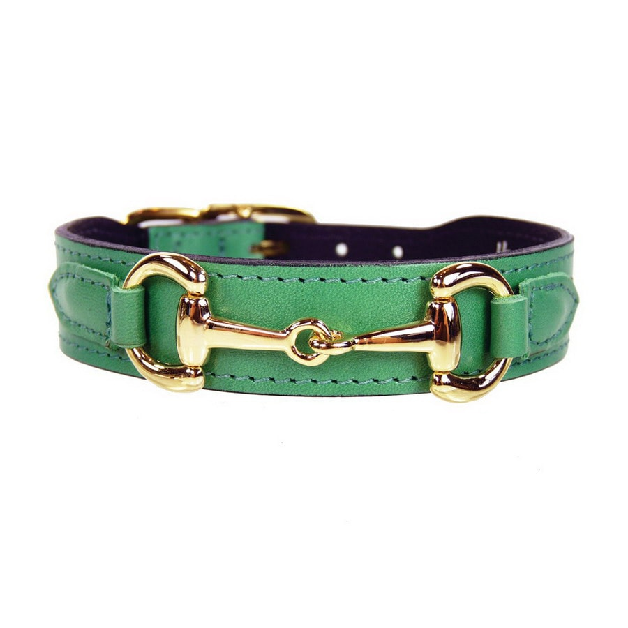 Hartman & Rose Kelly Green Leather Dog Collar