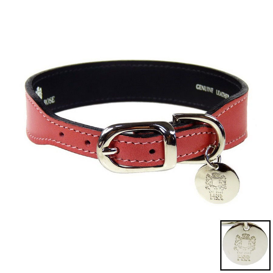 Hartman & Rose Petal Pink Leather Dog Collar
