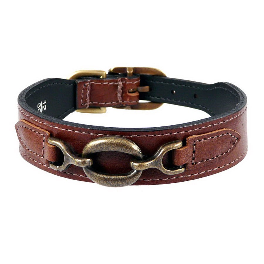Hartman & Rose Sepia Brown Leather Dog Collar