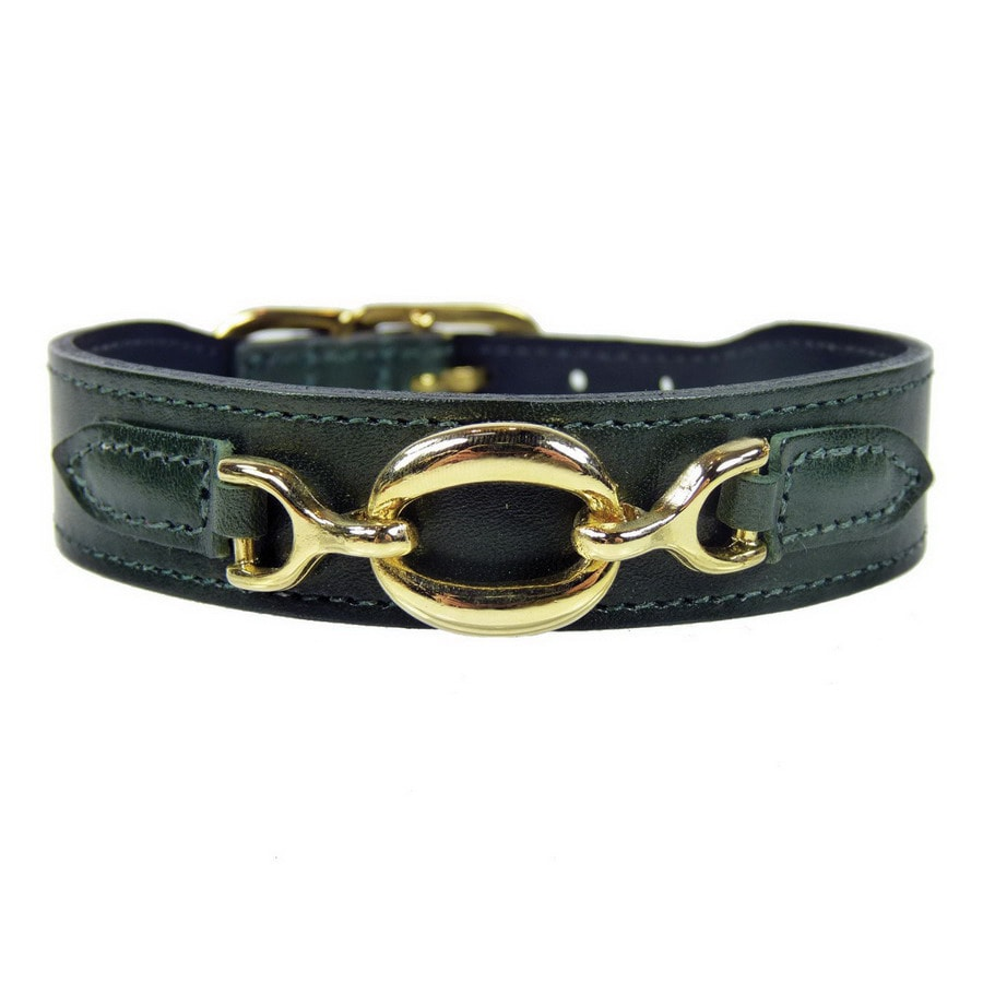 Hartman & Rose Ivy Green Leather Dog Collar