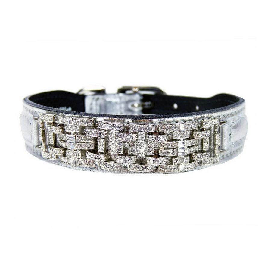 Hartman & Rose Metallic Silver Leather Dog Collar