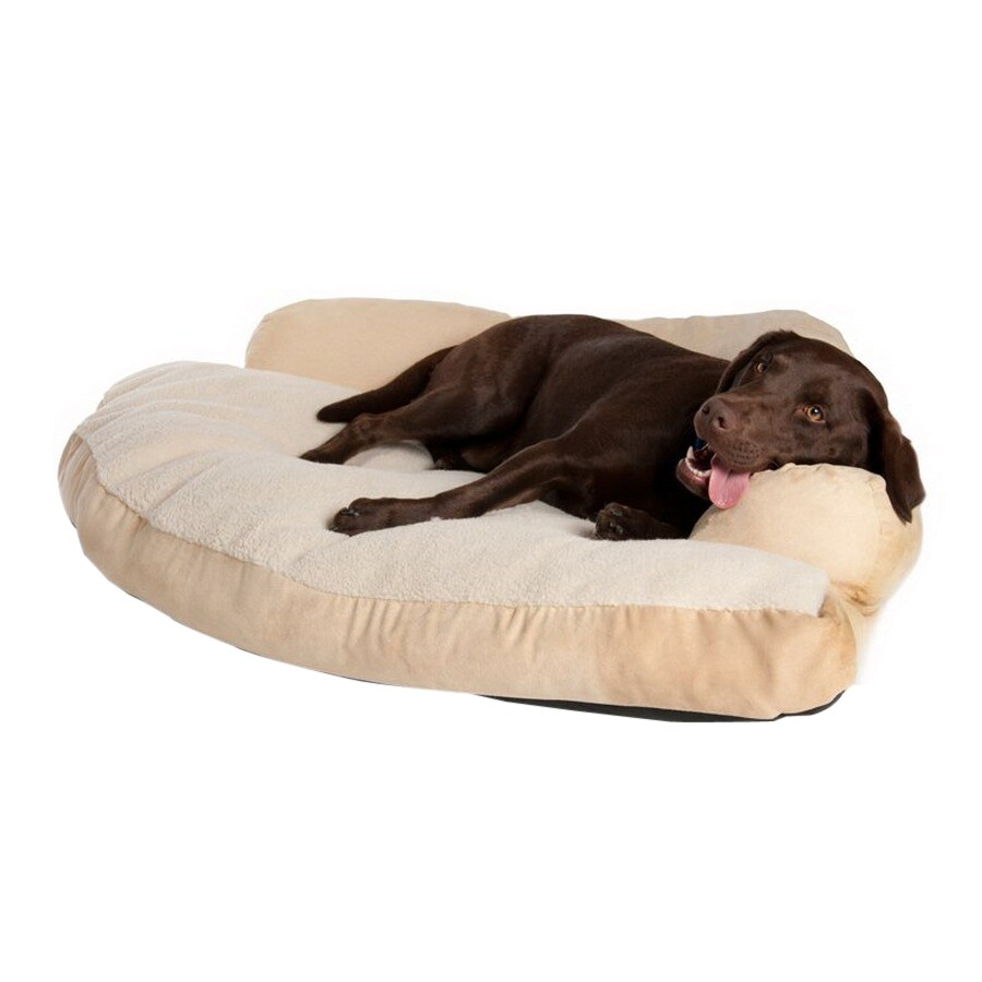 Great Paw Beige Sherpa Fleece and Suede Dog Bed