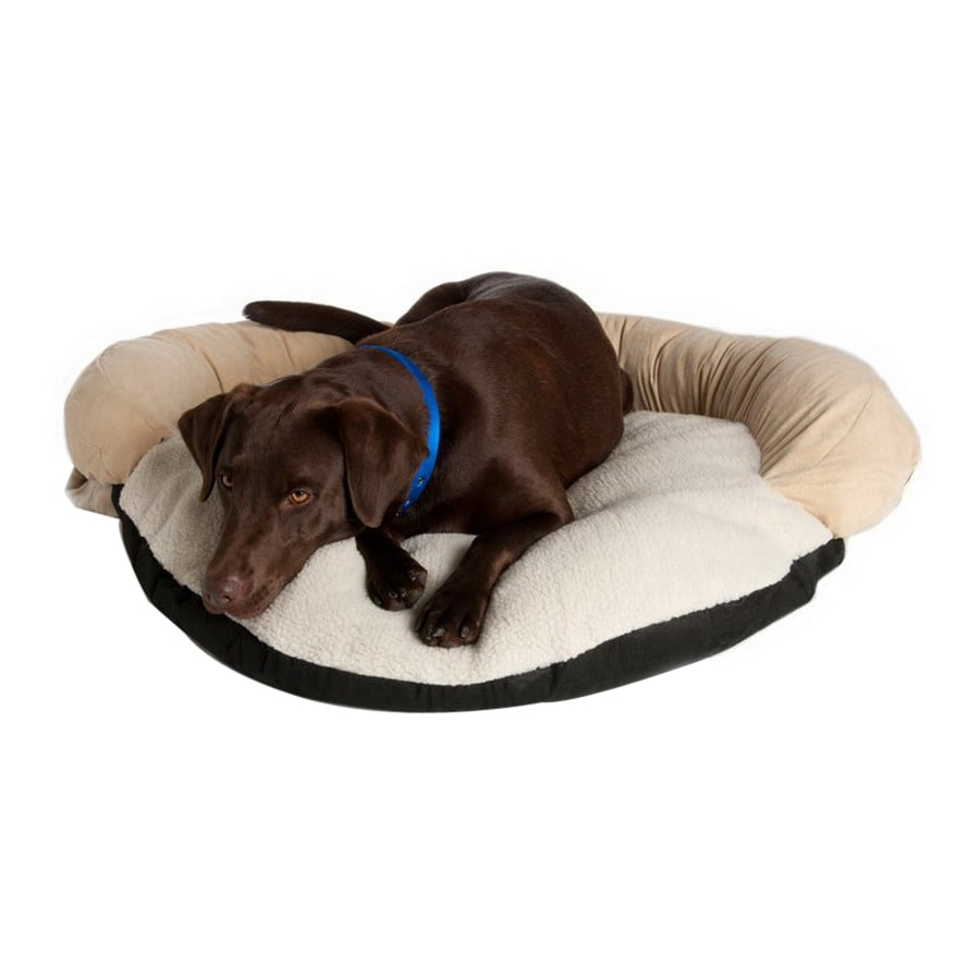 Great Paw Beige Sherpa Fleece and Suede Oval Dog Bed