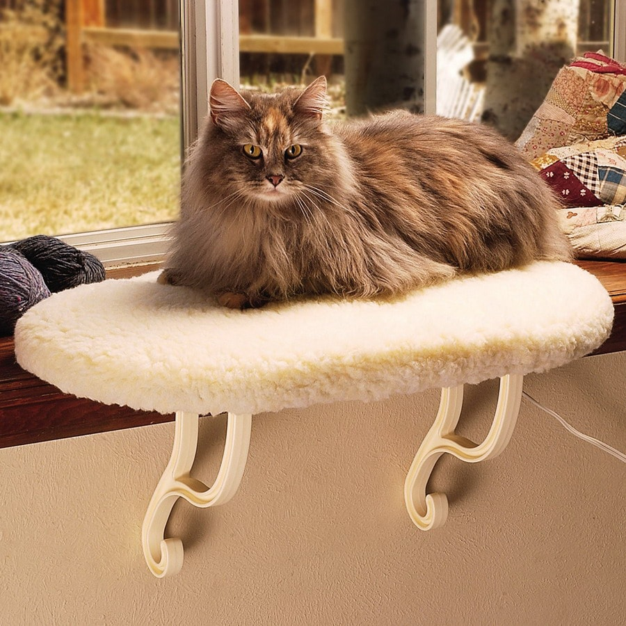 K&H Manufacturing Cream Faux Fleece Oval Cat Bed