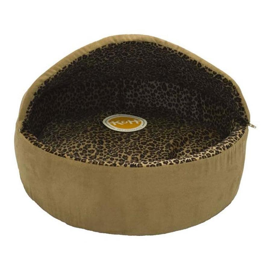 K&H Manufacturing Tan Leopard Polyester Round Cat Bed
