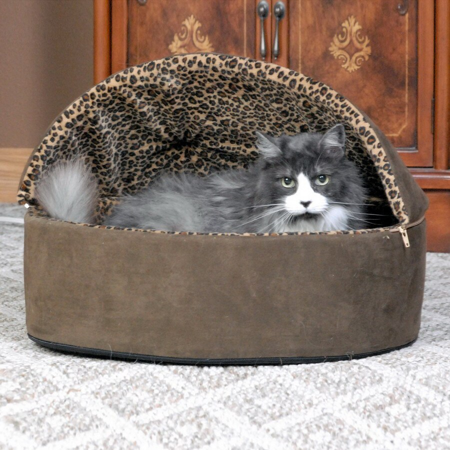K&H Manufacturing Mocha Leopard Polyester Round Cat Bed