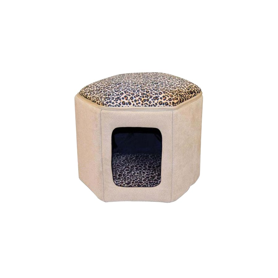 K&H Manufacturing Tan/Leopard Microsuede and Soft Fleece Cat Bed