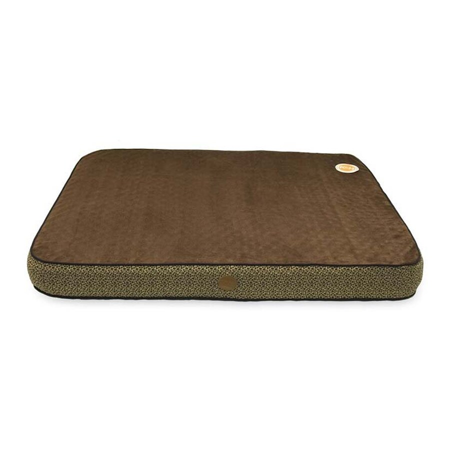 K&H Manufacturing Mocha Paw Bone Print Polyester/Cotton Rectangular Dog Bed