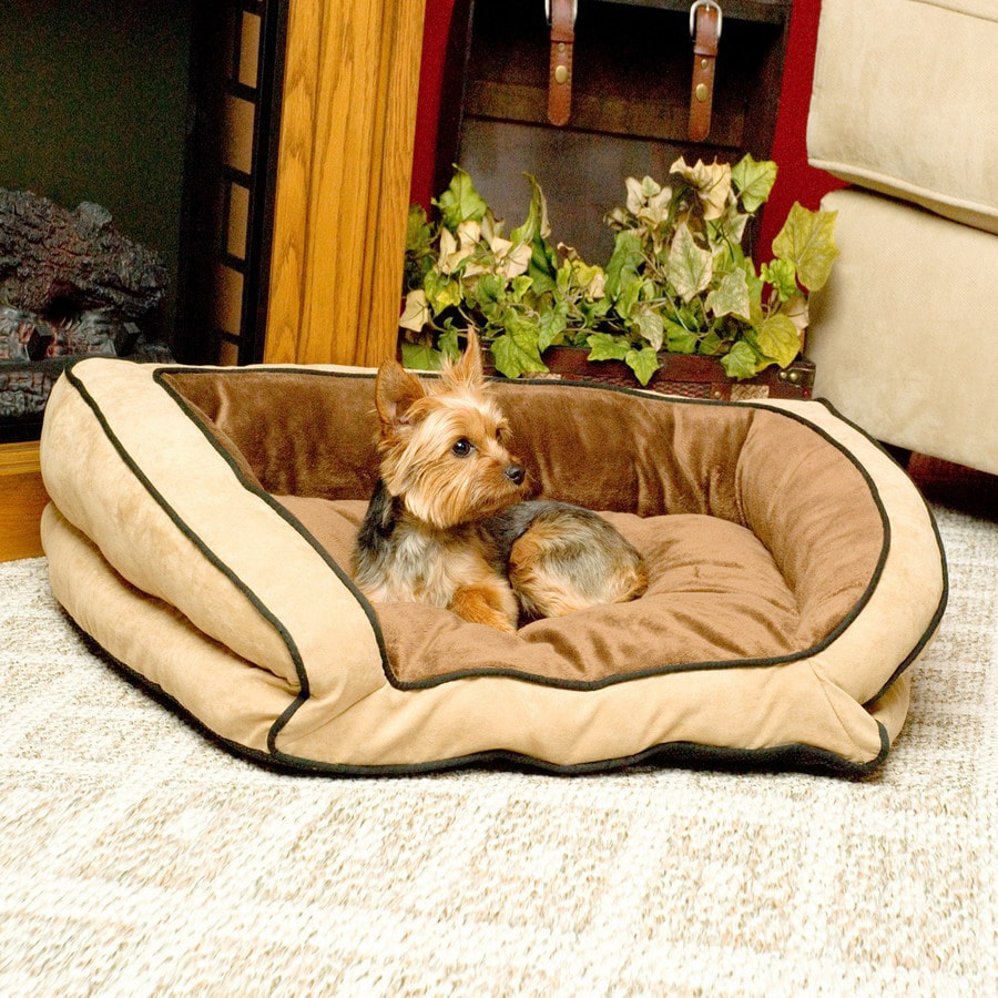 K&H Manufacturing Mocha/Tan Polyester Rectangular Dog Bed