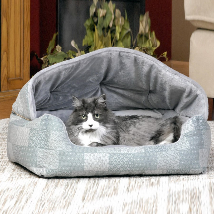K&H Manufacturing Teal Patchwork Polyester/Cotton and Soft Fleece Hooded Dog Bed
