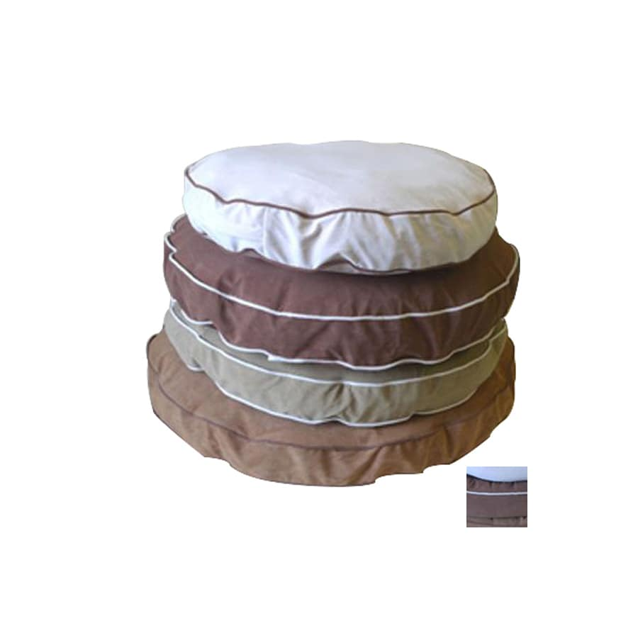 Carolina Pet Company Chocolate/Linen Piping Microfiber Round Dog Bed
