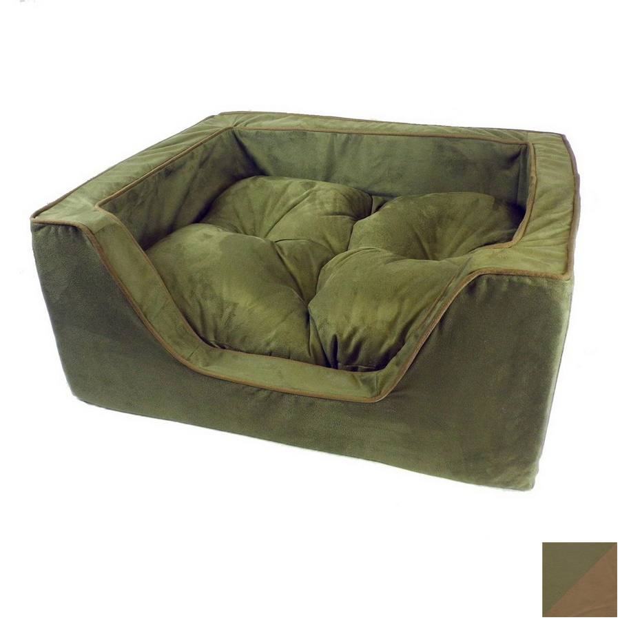 Snoozer Olive/Coffee Microsuede Rectangular Dog Bed