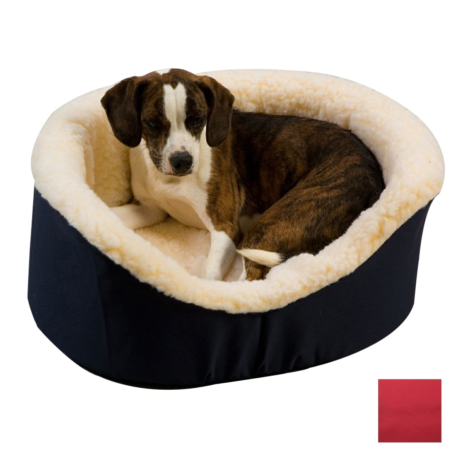 Snoozer Red Poly Cotton Oval Dog Bed