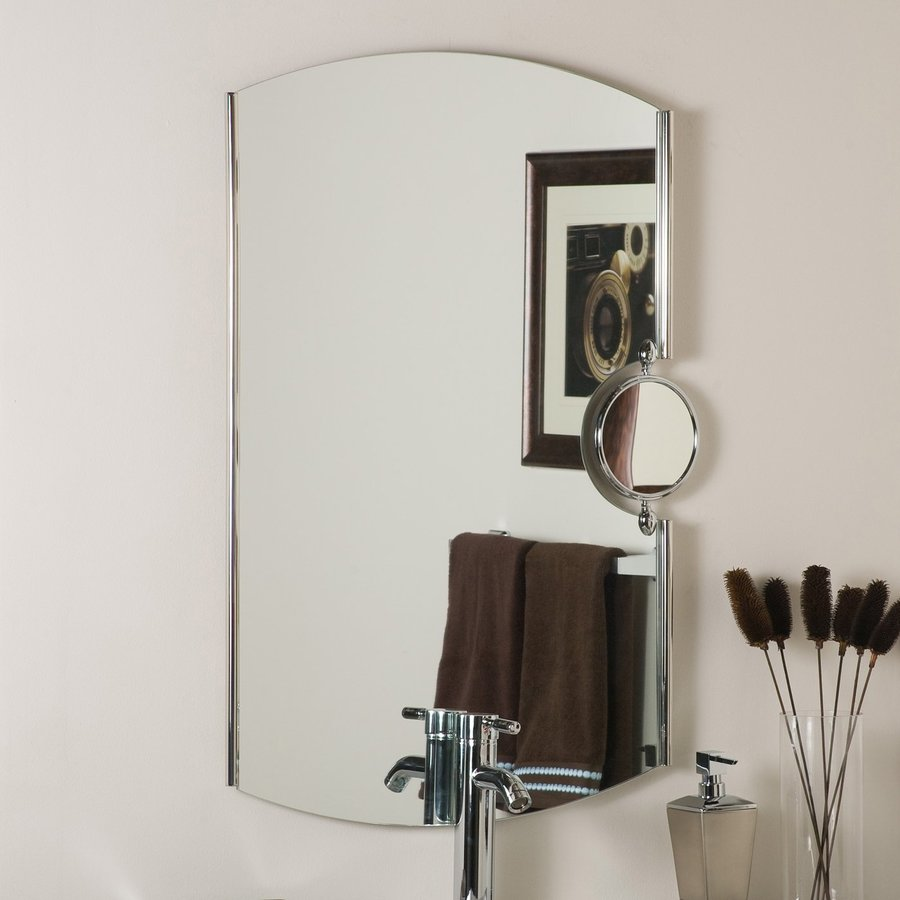 Decor Wonderland 25-in x 35.4-in Chrome Arch Framed Bathroom Mirror