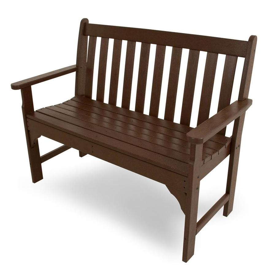 POLYWOOD Vineyard 24-in W x 48.5-in L Mahogany Plastic Patio Bench