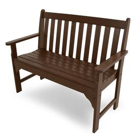 POLYWOOD Vineyard 24 In W X 48.5 In L Mahogany Plastic Patio Bench