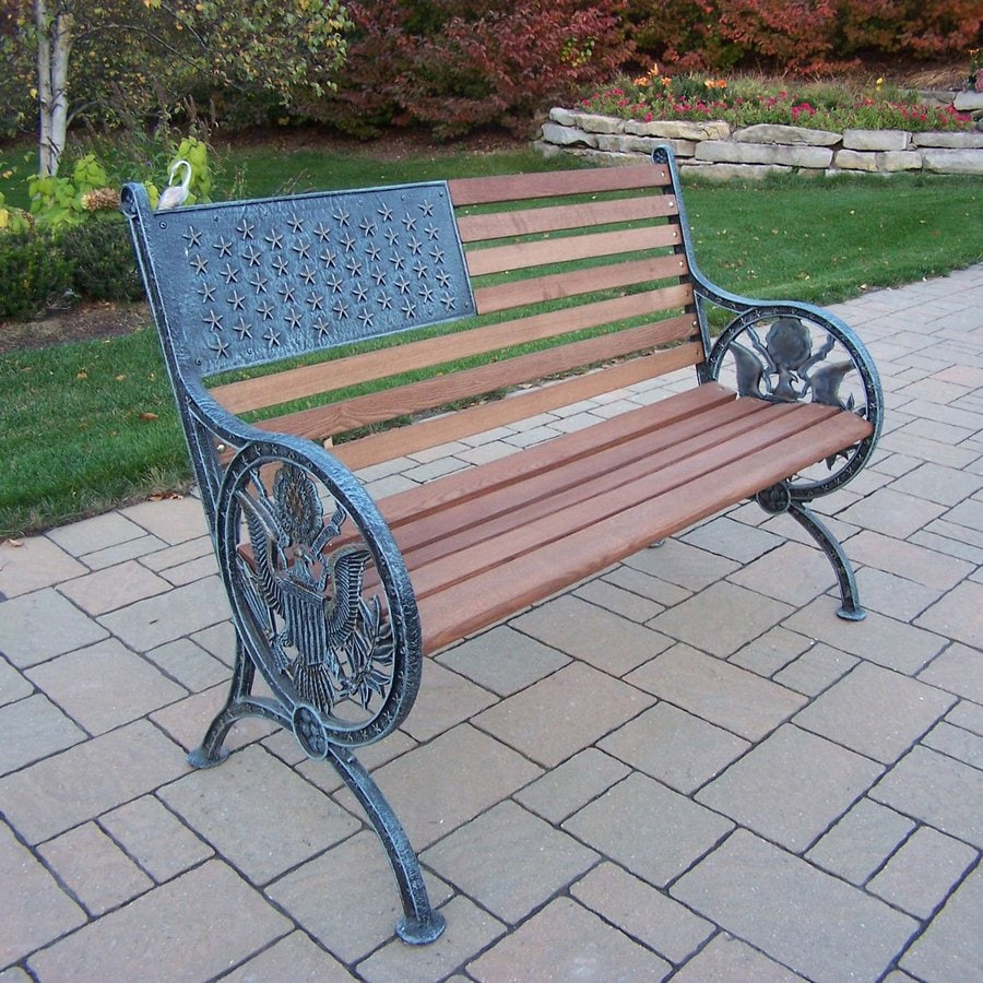 Oakland Living Proud American 24-in W x 50-in L Antique Verdi Patio Bench